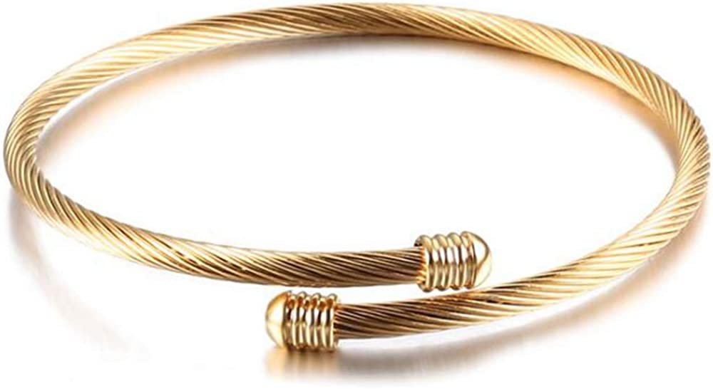 Jude Jewelers Stainless Steel Cable Wire Open Cuff Adjustable Size Bangle Bracelet