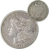 1881 S Morgan Dollar VF Very Fine 90% Silver with 1906 Liberty Nickel G Good