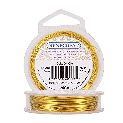 BENECREAT 30m Alambre de Cobre Cable Metálico Accesorios de manualidad para Diseño de Bisutería - Dorado Calibre 24
