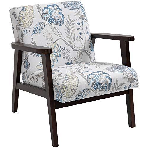 homcom Silla para salón Acolchada con reposabrazos de Madera y Tejido Transpirable para casa y Oficina, con diseño de Flores, 68,5 x 78,5 x 75 cm