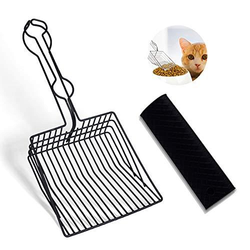 Chulai Katzenstreuschaufel, Edelstahl, Metall, robustes Sieb mit Silikon-Griff, Polsterung für Katzenbesitzer, schnelle Reinigung