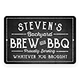 Pattern Pop Personalized Chalkboard Look Brew & BBQ Metal Sign (8x12 Inches)