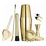 Gold Boston Cocktail Shaker Set for Professional Bartender and Home Bar including 18oz & 28oz Tins...