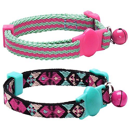 Blueberry Pet Katzenhalsband, geometrisches Design, verstellbar, mit abnehmbarem Halsband, in warmen und Hellen Farben mit Glöckchen, 22,9-33 cm, 2 Stück