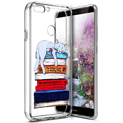 Surakey Coque Huawei P Smart Transparente Silicone Gel TPU Souple Housse Etui de Protection Bumper Dessin de Belle Fleur Papillon Crystal Clear Téléphone Couverture pour Huawei P Smart, Chat