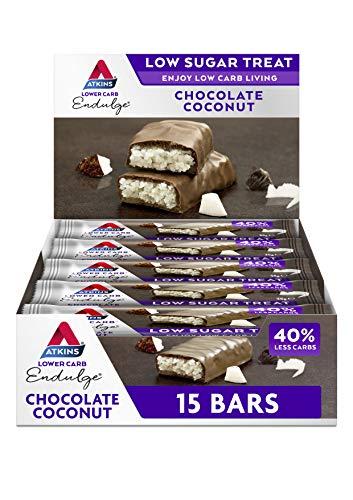 Atkins Chocolate Bar Keto Snacks, Low Carb, Low Sugar Chocolate Coconut Snack Bar, Multipack of 15