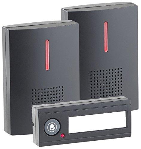 CASAcontrol Funkglocke: Kabellose Funk-Türklingel mit 2 Empfängern (Licht & Ton), 100 m, IPX4 (Funkklingel mit 2 Empfängern)