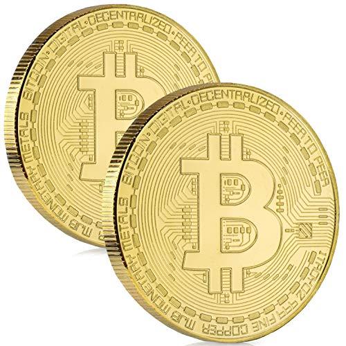 Satoshi Nakamoto Bitcoin Münze - 2X Bitcoin Münzen mit hauchdünnem 24-Karat Echtgold-Überzug - BTC Crypto Coins - Ideal zum Verschenken (2X Bitcoins)