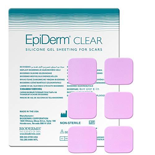 Biodermis Epiderm Narbenpflaster aus transparentem Silikon 1x6St, 3 x 3 cm Selbstklebend am gesamten Körper, Zur Narbenpflege nach der OP und um alte Narben zu entfernen