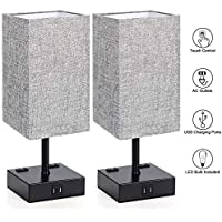 Set Of 2 MAXvolador Touch Control Table Lamp With 2 USB Charging Ports and 2 AC Outlets