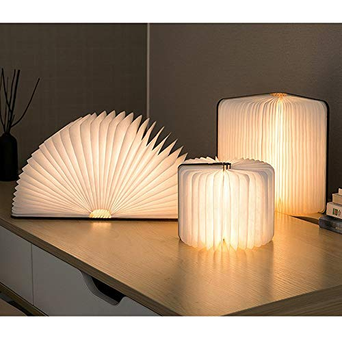 Desk LED Wooden Book Light Folding Night Light Gift Book USB Large Capacity Rechargeable Table Lamptable lamp Novelty Decoration Birthday Gift (Miedum) 3