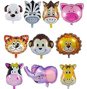 QIMMU 10 Piezas Globos Animales Globos Animales De La Selva Globos Helio Animales Decoración de la Fiesta de Cumpleaños de los Niños