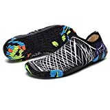 HOTROAD Zapatos de Agua Ligeros Descalzos Sandalias de Playa sin Cordones para Mujeres, Hombres y niños River Camping Travel Deportes Running Surf Shoes-204-Blanco 36