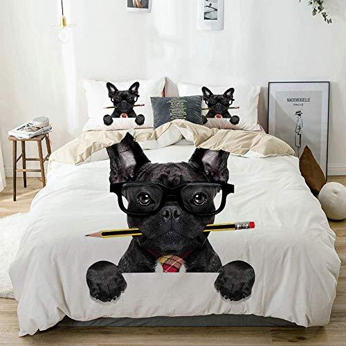 Juego de funda nórdica beige, hombre de negocios, perro negro con gafas y lápiz en la boca, jefe de oficina, juego de cama decorativo de 3 piezas con 2 fundas de almohada, fácil cuidado, antialérgico,