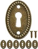 FUXXER - 6x Antike Ovale Schlüssel-Schilder, Schloss-Rosetten, Schloss-Beschläge, Abdeckung für Schlösser, Schlüssel-Loch, Vintage Messing Design, 6er Set inklusive Schrauben, 37 mm x...