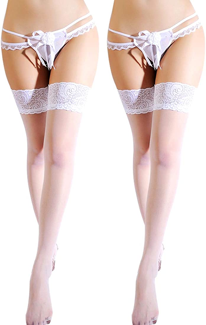 La Dearchuu Women's Sheer Thigh High Stockings Silicone Lace Top Stay Up Hosiery Silk Reflection Stockings (2 Pack)