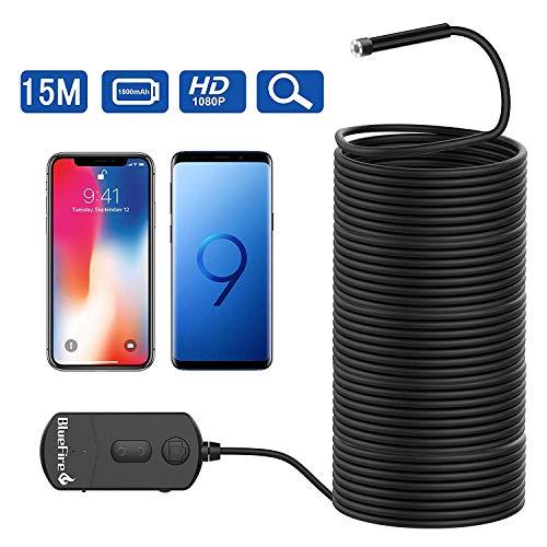 Bluefire Aufgerüstet WiFi Endoskop,1080P 8.2mm 1800mAh 2MP Zoombare Halbsteife Kabel wasserdichte, Endoskopkamera Inspektionskamera Rohrkamera Boreskope für IOS Android Smartphone Tablette(15M)
