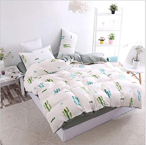 IRCATH bedlaken van gewassen katoen, vier sets voor studenten, eenvoudig bed, dekbedovertrek Home Textiel Jade Hibiscus