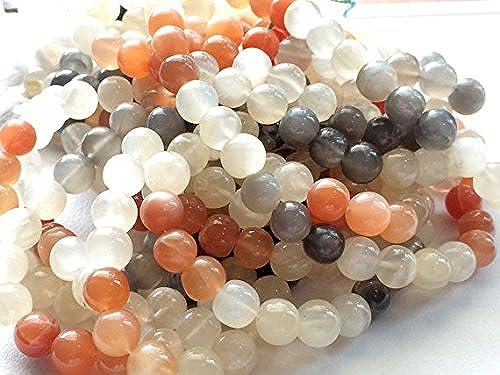 1 rang natürliches Multi Mondstein Uni Rondelle Perlen, Mondstein Halskette, Multi Mondstein Edelstein, 8  Perlen, 33