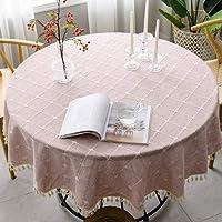 テーブルクロス 新タータンチェックコットンリネンラウンドテーブルクロスウェディングホテル宴会装飾布屋内ダイニングルームキッチン屋外の装飾 (Color : Pink, Specification : Round 240cm)