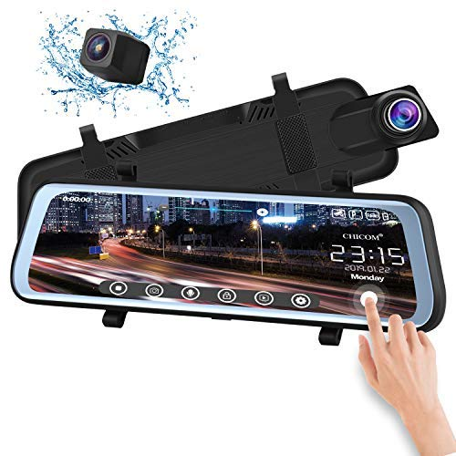 CHICOM V21 9.66 inch Mirror Dash Cam Touch Full Screen ; 1080P 170° Full HD Front Camera;1080P...