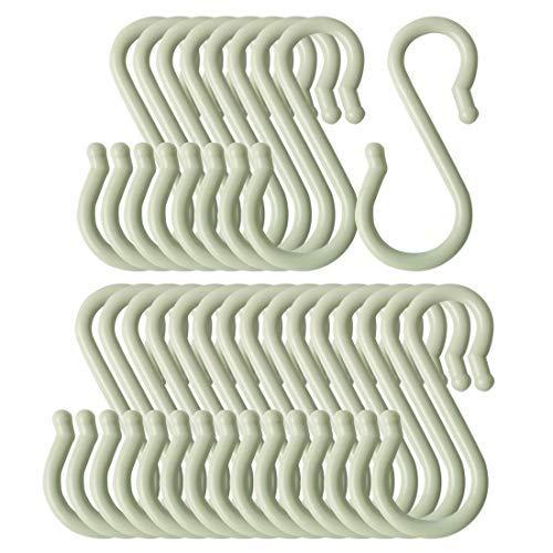 Haken, S-Form, Kunststoff, für Küche, Bad, Töpfe und Töpfe zum Aufhängen, für Kaffeetassen, Utensilien, Kleidung, Servietten, hellgrün, 24 Stück