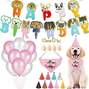 Dorakitten Dog Birthday Party Supplies, Cute Dog Boy Girl Birthday Decorations with Party Hats Bandana Banner Balloons Cake Toppers (55-Piece Set)