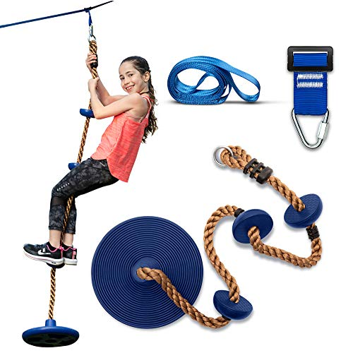 Sportivikids Climbing Rope Tree Swing with Platforms and Disc Swings Seat - Climbing Ladder for Treehouse and Backyard Tree Use, Bonus Hanging Carabiner, Fun Kids Outdoor Playground Accessories
