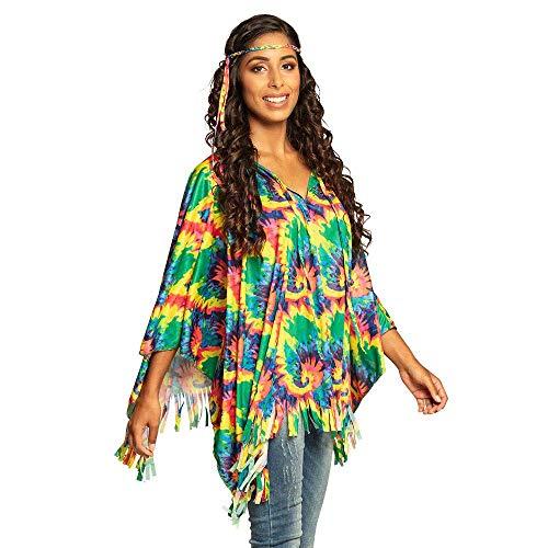 Boland 83886 - Poncho Hippie mit Stirnband, Einheitsgröße für Erwachsene, Kostüm, Flower Power, Peace, Überwurf, Mottoparty, Karneval