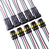 TOOHUI 5 juegos 3 Pin Way Car AMP Conector eléctrico con Conector del cable del cable Mujer Hombre...