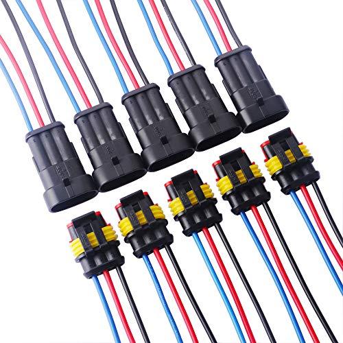 GTIWUNG 5 Set 3 Pin Way Wasserdichter Stecker, Auto Wasserdichte Elektrische Stecker, 3-Pinlig Elektrischer Anschluss Stecker mit Draht, 3-Poliger Kabel Steckverbinder Stecker für LKW/Auto/Motorrad