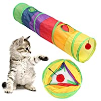Gojiny 猫トンネル キャットトンネル 猫おもちゃ 折りたたみ式 ペットトンネル トンネル玩具 収納便利 猫玩具 ネコ用品 ヘアボール付き