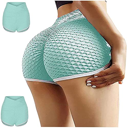 CWTT TIK Tok Leggings cortos para mujer, levantamiento de glúteos, yoga, entrenamiento, correr, control de barriga, leggings de botín, I, M