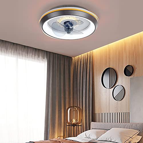 WRQING Schlafzimmer Deckenventilator mit Beleuchtung, Fernbedienung Leise Moderne Led Deckenventilator mit Licht, 3 Geschwindigkeiten Wohnzimmer Ventilator Deckenleuchte (Color : Black)