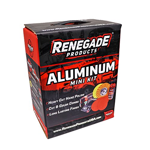 Renegade Products Aluminum Polishing Mini Kit Complete with Buffing Wheels, Buffing Compounds, Right Angle Grinder Safety Flange, Rebel Pro Red Hand Polish and Microfibers