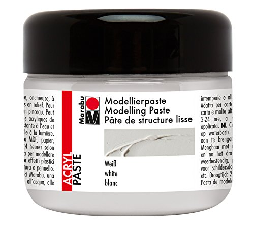 Marabu 12270025070 - Modellierpaste, cremige Acrylpaste auf Wasserbasis, lichtecht, wetterfest, gut deckend, für reliefartige bis plastische Strukturen, 225 ml, weiß