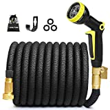 50FT Expandable Garden Hose, Water Hose Expandable Hose with 3/4 Inch Strong Solid Brass Fittings, 9 Function Hose Nozzle Flexible Expanding Hose Lightweight Gardening Outdoor Yard Hoses No-Kink