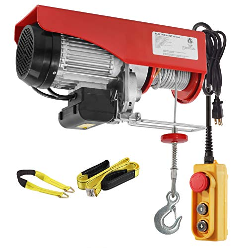 Partsam 2200 lbs Lift Electric Hoist Crane Remote Control Power System, Zinc-Plated Steel Wire Overhead Crane Garage Ceiling Pulley Winch w/Premium Straps (w/Emergency Stop Switch)