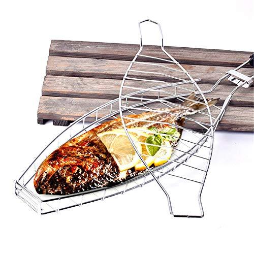 Queta - Rejilla para barbacoa y pescado, portátil, de acero inoxidable, con asa de madera extraíble
