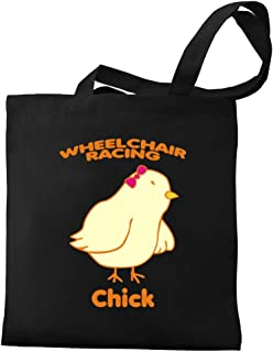 Eddany Wheelchair Racing Chick Bow Canvas Tote Bag