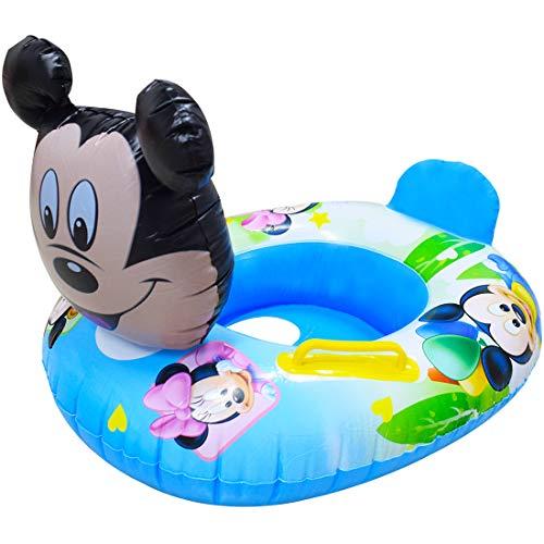 Mickey Mouse Asiento de natación Miotlsy-Swimming niños Flotador Inflable de natación Asiento Seguro Barco Piscina Flotador Entrenador de natación para Edades de 6 Meses a 8 años