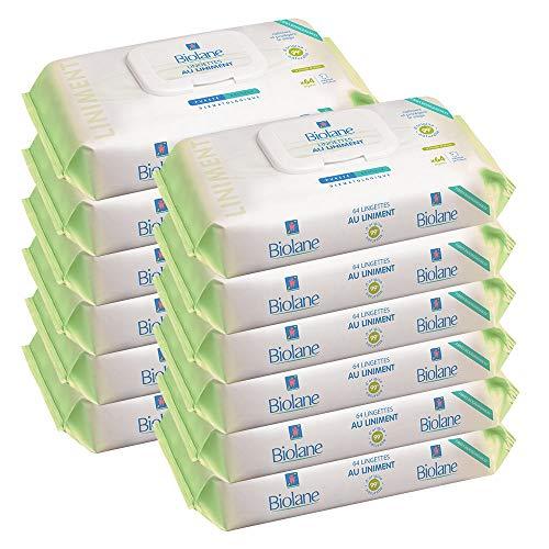 Biolane Lingettes au liniment - Lingettes Nettoyantes à base d'huile d'olive pour le Change du Bébé dès la Naissance, Blanc et Vert, Étuis de 64 lingettes, Lot de 12
