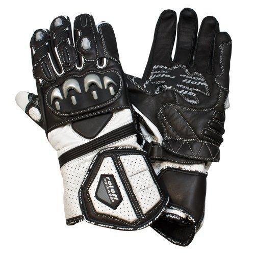 Roleff Racewear Motorradhandschuhe Leder, Schwarz/Weiß, L