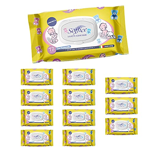 Soffice Toallitas Baby Camomila con tapón 12 paquetes x 72 toallitas – 370 g