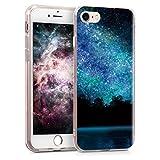 kwmobile Hülle kompatibel mit Apple iPhone 7/8 / SE (2020) - Handyhülle - Handy Hülle Galaxie See Wald Blau Schwarz