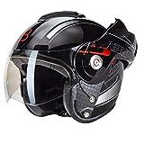 Casque moto à visière-Beon B702Reverse - Coloris: noir brillant