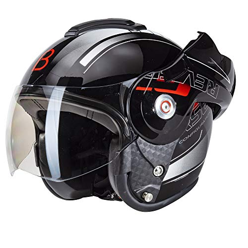 Beon B702 Reverse Glänzend Schwarz - Klapphelm - Motorrad helm XL