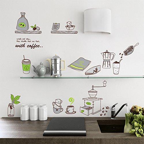 Zooarts Dibujos Animados Taza de café Accesorios de Cocina extraíble Pegatinas de Pared Art Decor Calcomanías de Vinilo Home Mural de Habitación