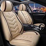 Coprisedili Auto Universale, Pelle Fodere per Seggiolino Auto Set Completo, Protezione Sedile Anteriori Posteriore Auto ( Color : Beige )