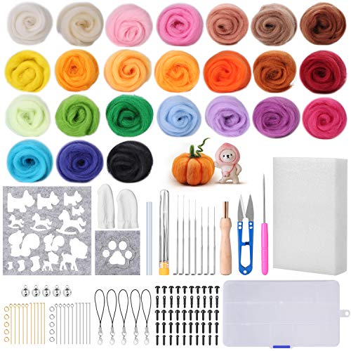 Needle Felting Kit, FIXM 24 Colors Wool Roving for Felting Wool Needle, Felt Starter Kit Wool Felt Tools with Fibre Yarn DIY Needle Felting Supplies